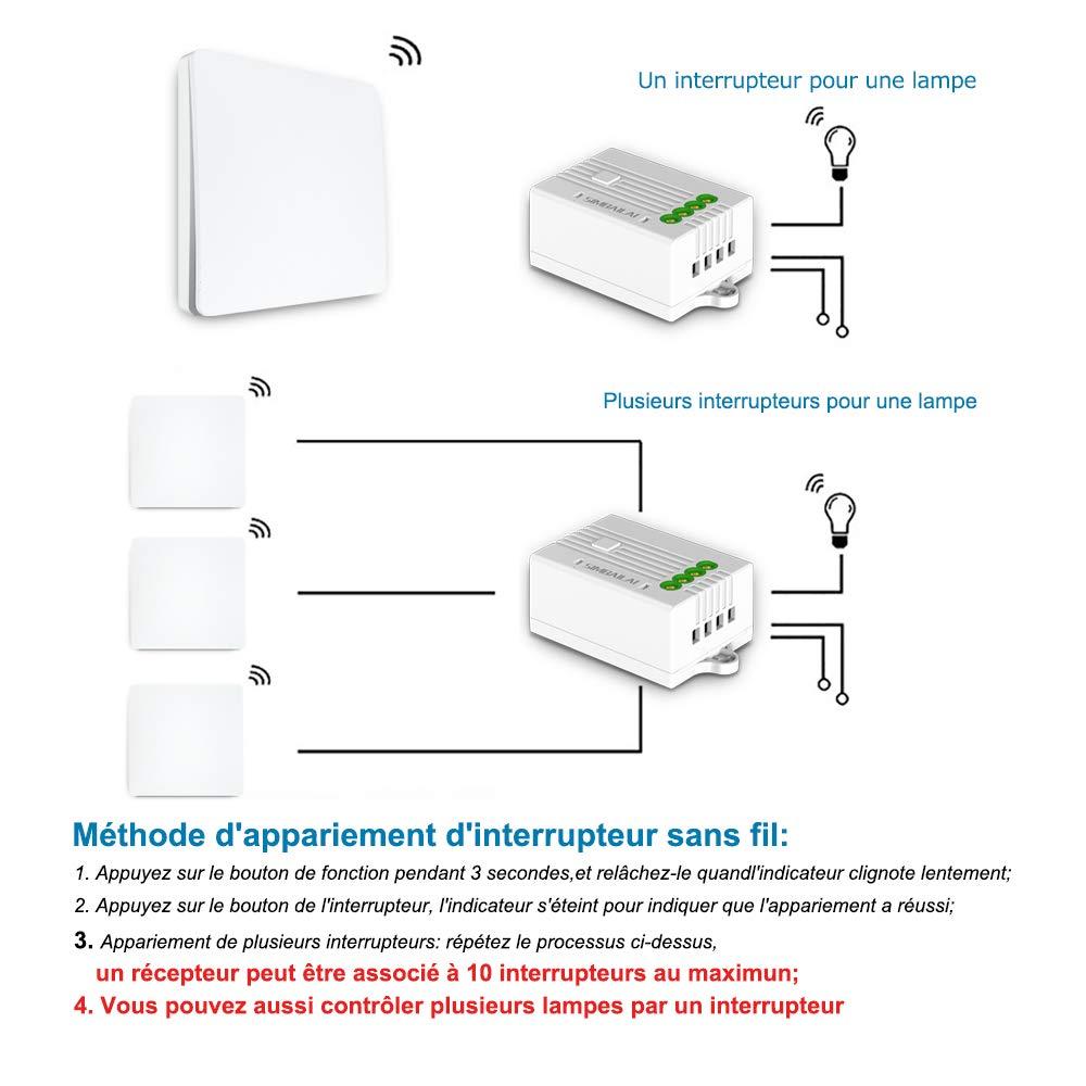 1 Seule Interrupteur Simple allumage SIMBAILAI Interrupteur sans Fils telecommande,Fonctionne sans Pile,Port/ée 200M,Classe d/'/Étanch/éit/é IP67,Mince,Interrupteur d/'/éclairage sans Fils Etanche