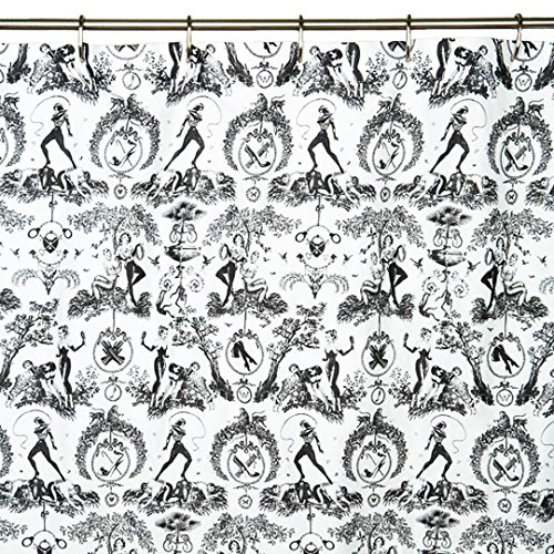 Sin in Linen Black and White Toile Cotton Shower Curtain, Fetish al Fresco Bathroom Decor