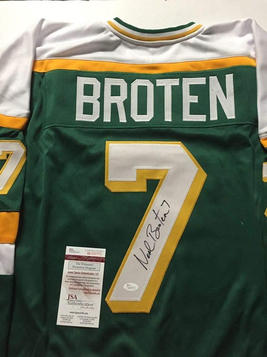 Autographed/Signed Neal Broten Minnesota Green Hockey Jersey JSA COA