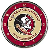 Florida State Seminoles NCAA 12 Inch Round Chrome Plated Wall Clock