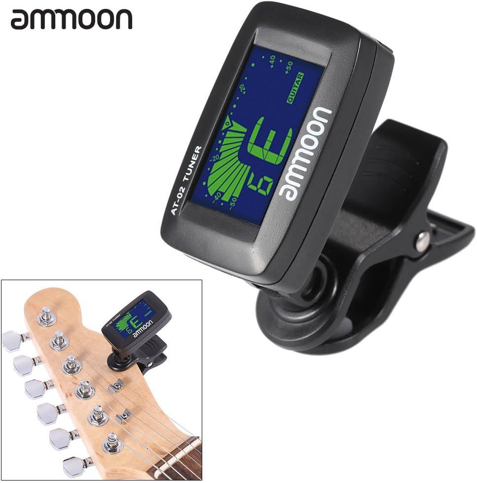 ammoon AT-02 Sintonizador Eléctrica con clip-on Tres colores de Iluminación de la Pantalla para Guitarra Bass Cromático Ukulele Universal Portable