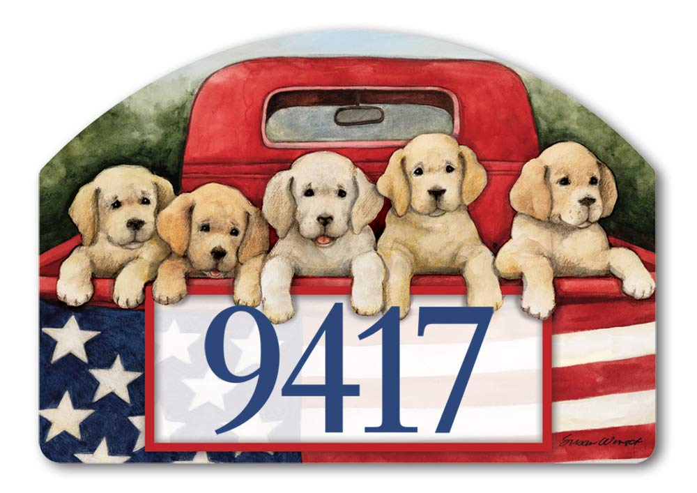 Yard DeSigns Studio M Patriotic Puppies Summer Dogs Decorative Address Marker Yard Sign Magnet, Made in USA, Superior Weather Durability, 14 x 10 Inches by Yard DeSigns (Image #1)