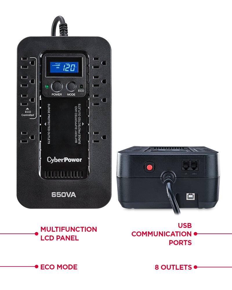 CyberPower EC650LCD Ecologic UPS System, 650VA/390W, 8 Outlets, ECO Mode, Compact by CyberPower (Image #2)