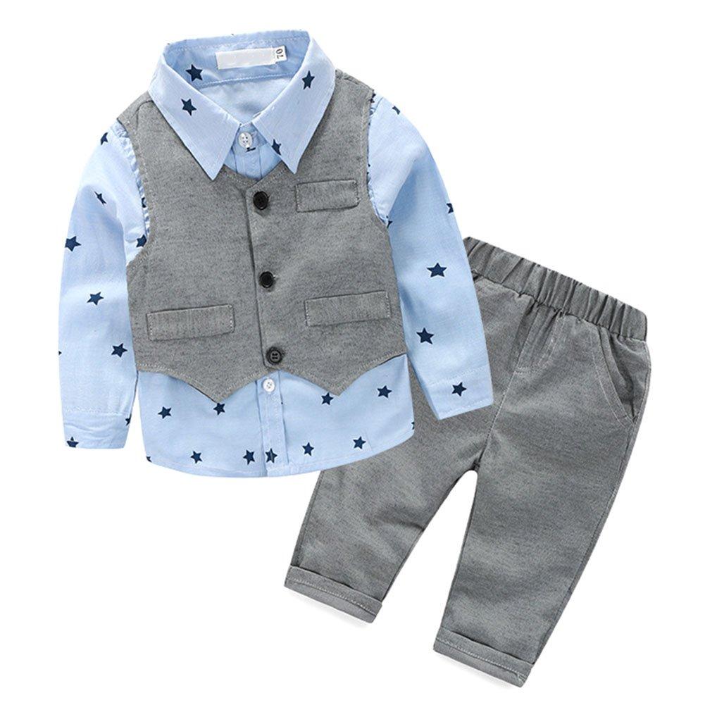 BOBORA Bambini ragazzi 3 pezzi di abbigliamento set polka dot camicetta camicia + gilet panciotto + pantaloni lunghi BON-IT-0759