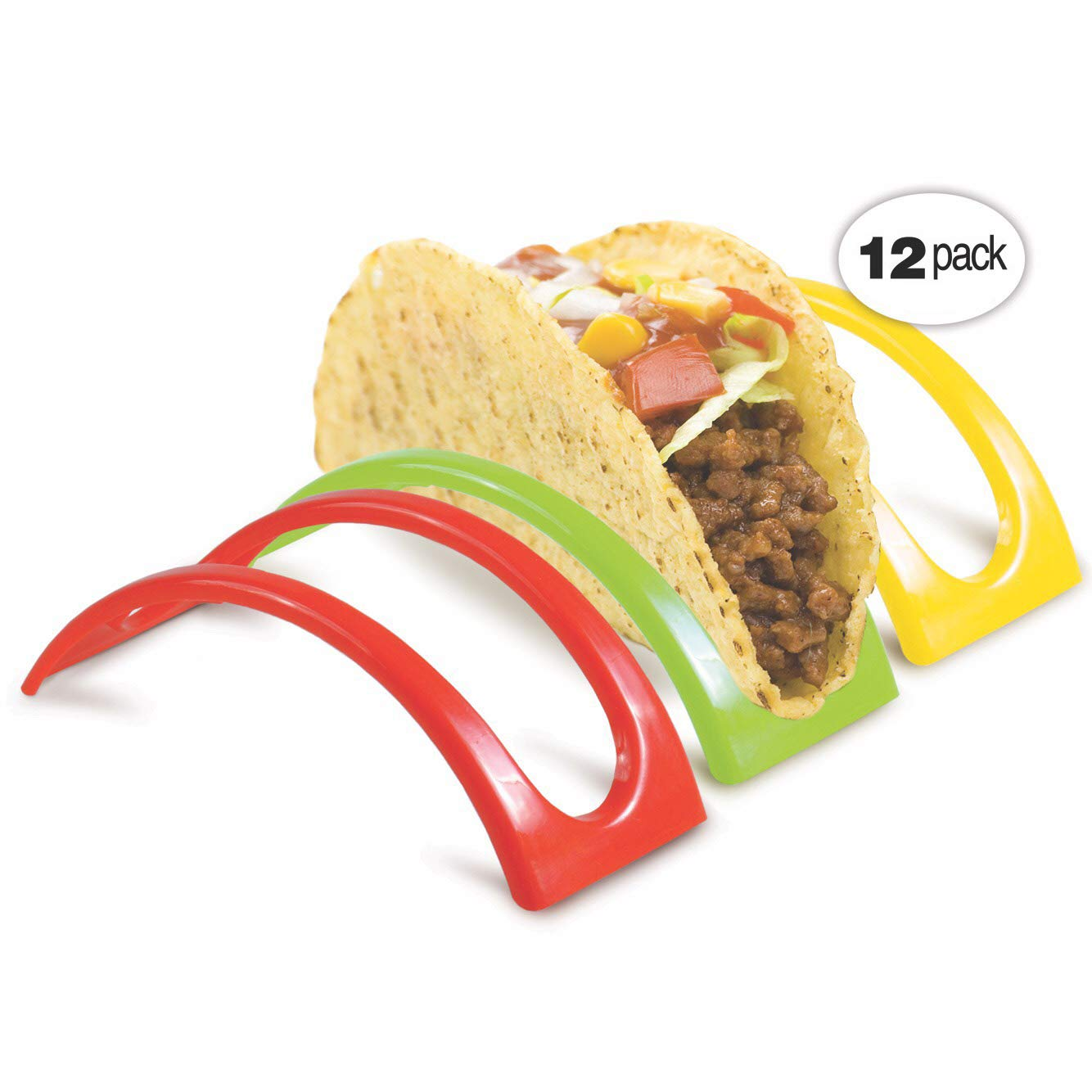 Taco Holders Bright Cheerful Colors of Green, Red, and Yellow with Set Of Four Each, Stackable To Maximize Space TacoWize
