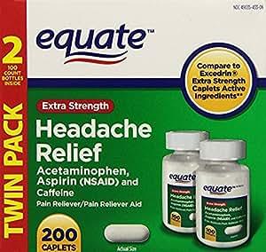 Equate Extra Strength Headache Relief Acetaminophen, Aspirin (NSAID) and Caffeine 200 Caplets