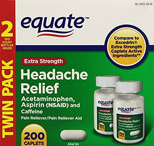 Equate Extra Strength Headache Relief Acetaminophen, Aspirin (NSAID) and Caffeine 200 ()