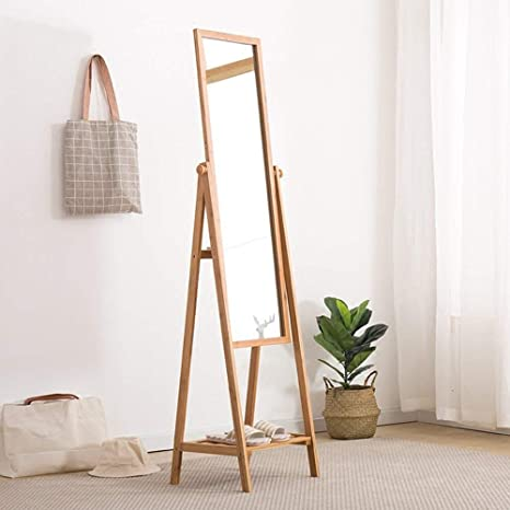 N/A NA Percheros Perchero Espejo de Cuerpo Entero Estantería de bambú Arte Bastidores Dormitorio Multifunción Espejo de pie Espejo Estable y Duradero, Árbol de Ropa: Amazon.es: Deportes y aire libre