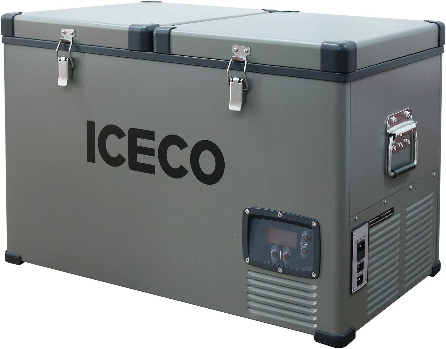 ICECO VL65 68 Quart Dual Zone Portable Refrigerator with SECOP Compressor, 65 Liters Deep Freezer, DC 12/24V, AC 110-240V, 0℉ to 50℉, Home & Car Use (without Insulate Cover)