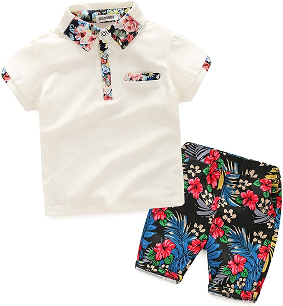 Infant Baby Boys Cotton 2 Pieces Clothing Set Polo Tops Tee with Floral Shorts