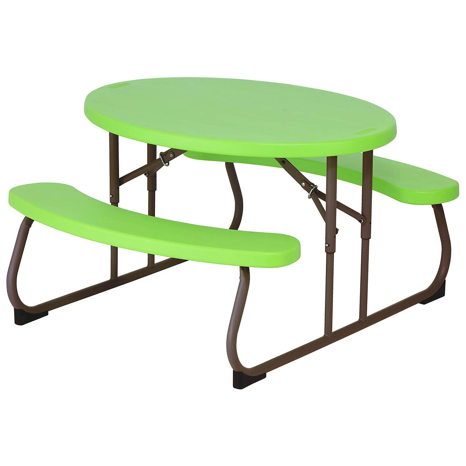 STS SUPPLIES Toddler Picnic Table Oval for Kids Outdoor Metal Plastic Child Commercial Compact Outside Dinner Dining Lounger Furniture & E Book by Easy2Find.