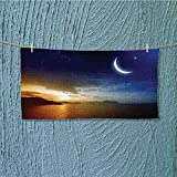 SCOCICI1588 quick dry towel large Serene with Lunar and Star Holy Sky over Blue Orange Fluffy, and Absorbent, Premium Quality L27.5 x W13.8 INCH
