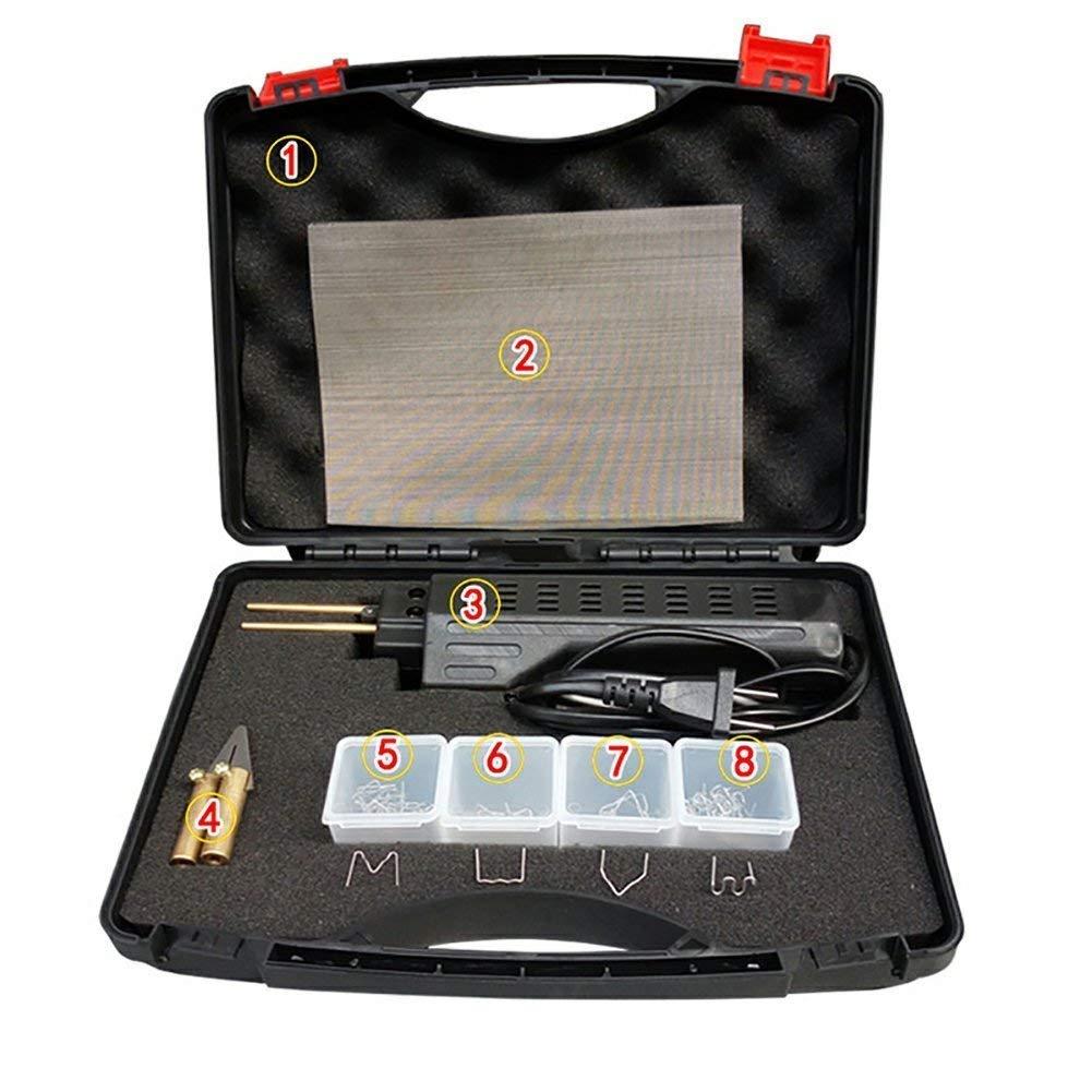 110V Hot Stapler Car Bumper Fender Fairing Welder Gun Plastic Repair Kit 200 Staples Pliers