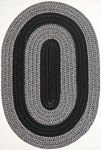 Constitution Rugs Veranda Patio 5 x 8 Oval Braided Rug in Black Silver Tweed