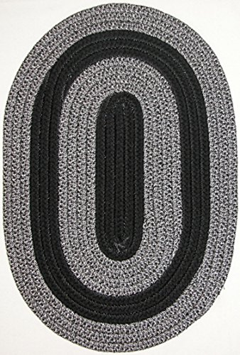 Black Braided Rug Oval - Veranda Patio 5' x 8' Oval Braided Rug in Black & Silver Tweed