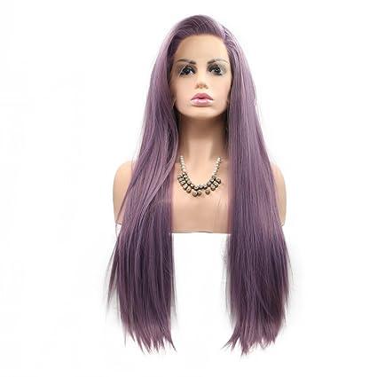 Peluca de cabello natural resistente al calor, 180 % de densidad, de encaje sintético