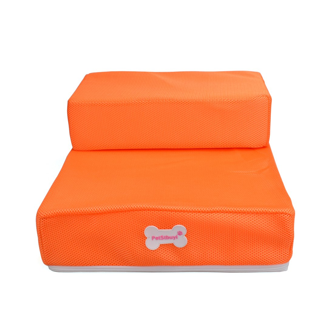 Jinshou 2 Steps Folding Pet Stairs Ramp Ladder Removable Cover for Cats Dogs Orange