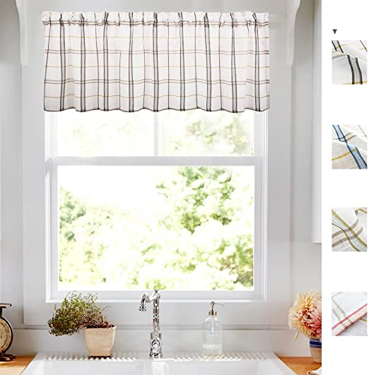 Geometry Valances for Windows White Linen Look Black and Taupe Gingham Half  Window Kitchen Curtains 1 pc 18 Inch Long