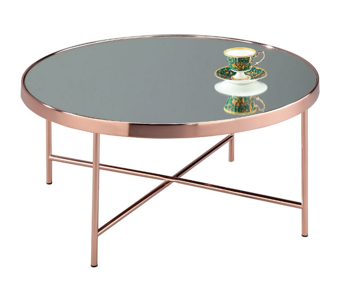Contemporary Design Chic Mirrored Glass Round Coffee Table