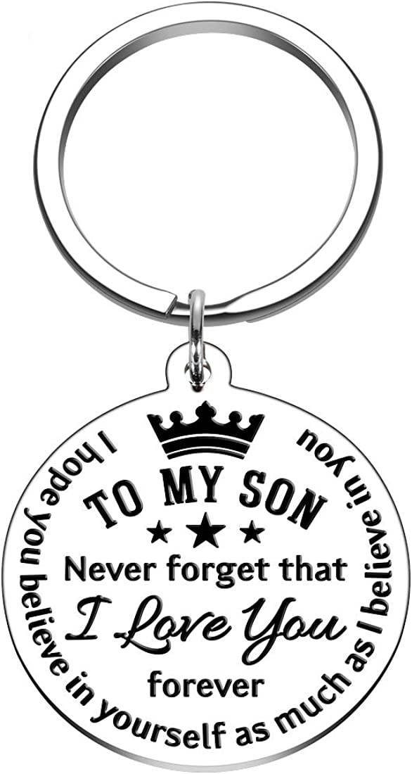 To My Son Inspirational Gift Keychain from Dad Mom Never Forget That I Love You Forever Birthday Graduation Christmas Back to School Gift for Boys Teenage Him Family Pendant Charm Stocking Stuff Gifts