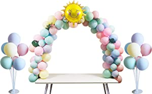 Table Balloon Arch Kit 12ft For Birthday Decortions, Party, Wedding, Christmas And Graduation Party Decortions, Party Supplies, White Fiber Rod, Includes Two Sets Of Table Balloon Stand Kit