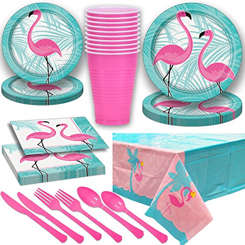Flamingo Theme Party Supplies for 16. Dinner Plates, Dessert Plates, Napkins, Large Cups, Pink Cutlery, Tablecloth. Disposable Tableware for Tropical Beach, Luau Birthday, Summer Weddings, and more