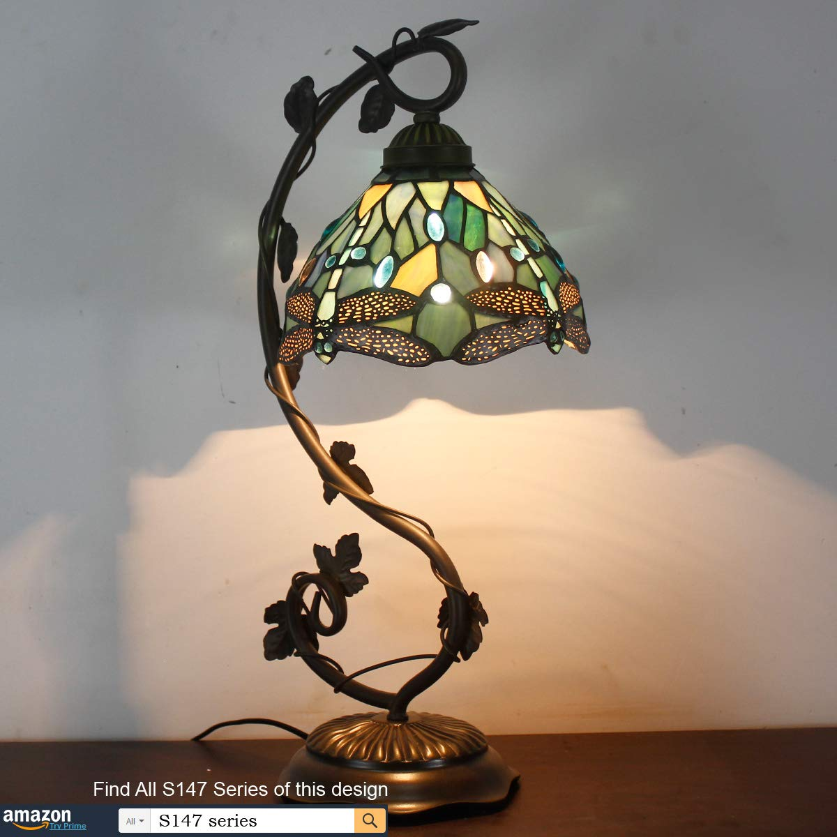 Tiffany Lamps Stained Glass Table Desk Reading Lamp Crystal Bead Sea Blue Dragonfly Style Shade W8H22 Inch for Living Room Bedroom Bookcase Dresser Coffee Table S147 WERFACTORY by WERFACTORY (Image #6)