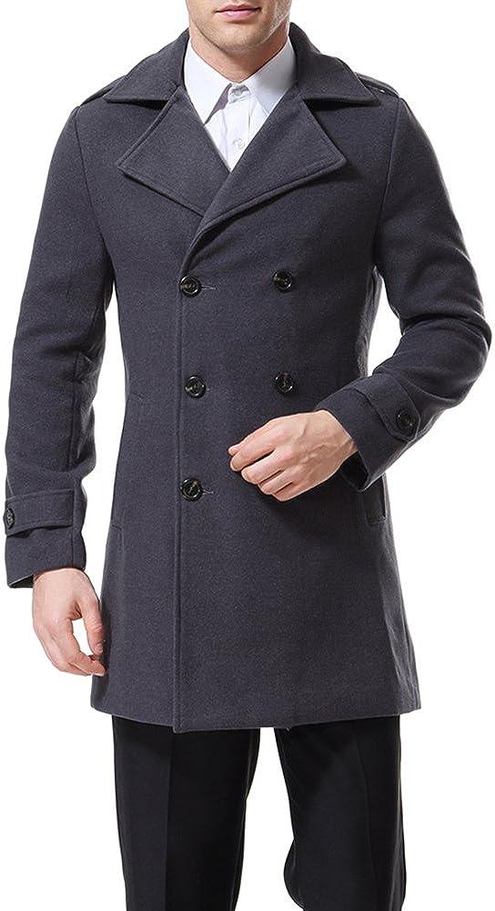 AOWOFS Herren Mantel Herbst Wintermantel Classic Regular Fit Trenchcoat Jacke mit Reverskragen Peacoat Business Freizeit