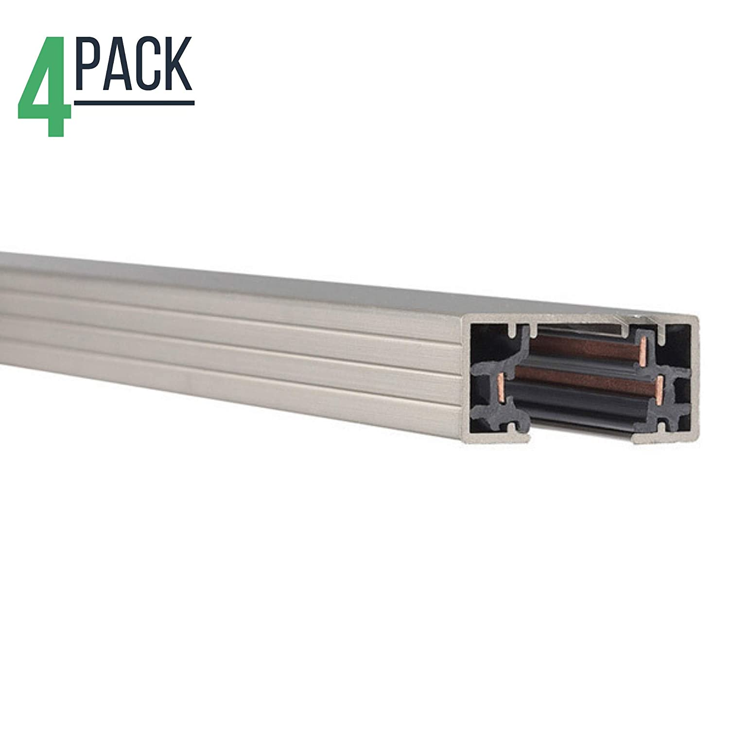 Black Track Lighting Section White Single Circuit 3-Wire Track Rail 4ft H Track Rail Pack of 4
