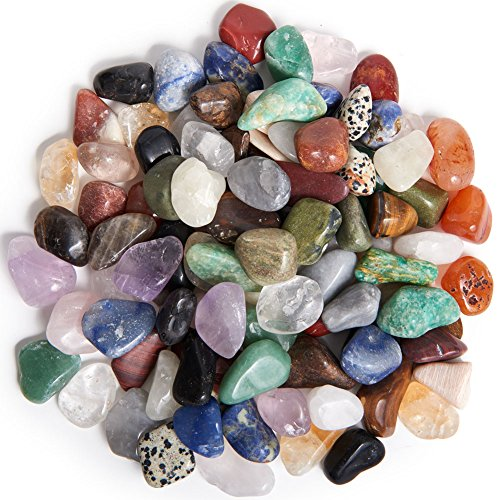 Digging Dolls: 2 lbs Tumbled Natural Brazilian Stone Mix - Over 35 Stone Types - Small - 0.75