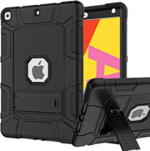 iPad 7th/8th Generation Case, iPad 10.2 Case, Hybrid Shockproof Rugged Drop Protection Cover Built with Kickstand for iPad 10.2 Inch 7th/8th Generation 2019/ 2020 Release (Black)
