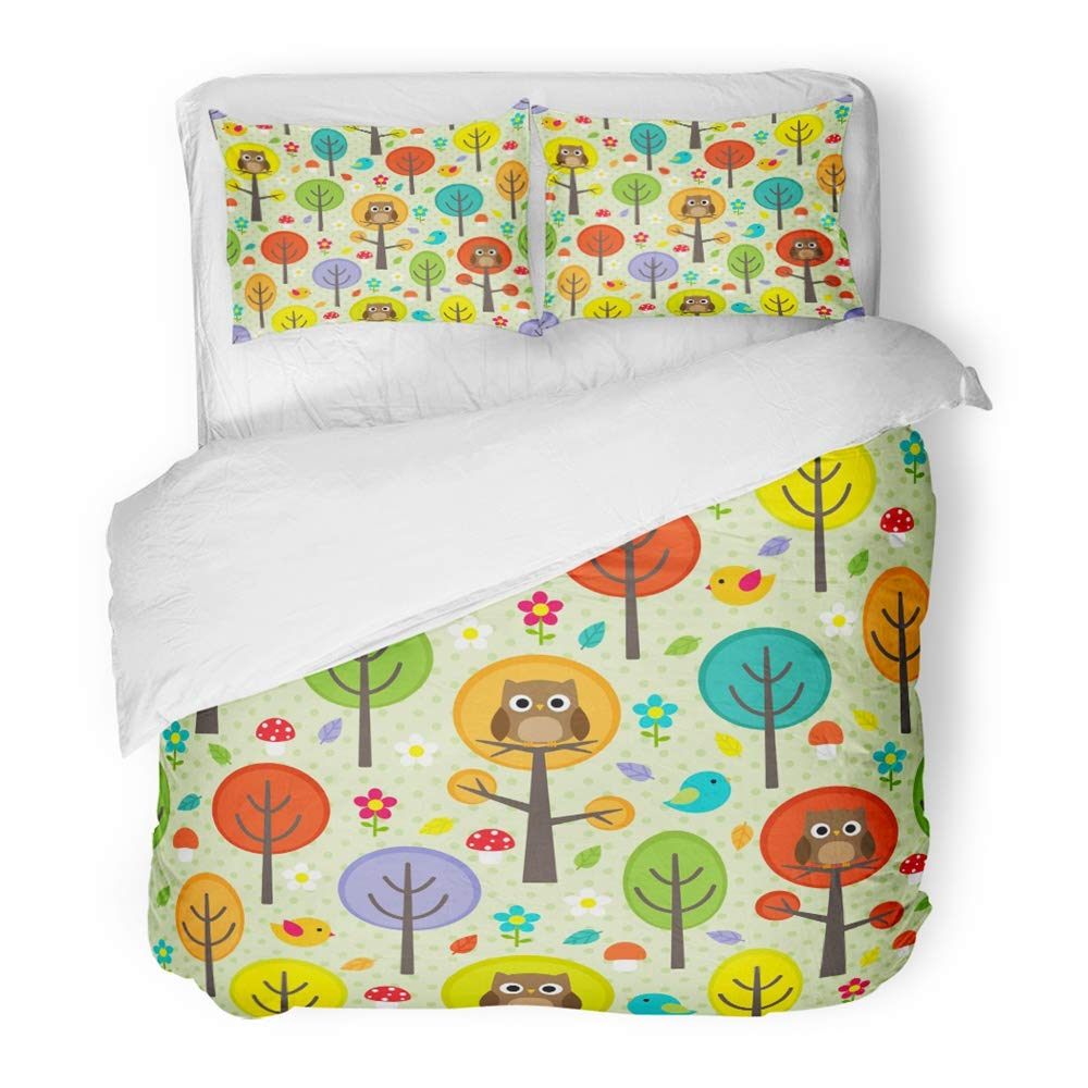 Emvency Bedding 掛け布団カバーセット ツイン (掛け布団カバー1枚+枕カバー1枚) 緑のフクロウの森 鳥の木とキノコの森 カラフル キュート 秋 子供っぽい 動物 ホテル 品質 しわとシミ耐性 ツイン イエロー B07GZL5RW7  ツイン