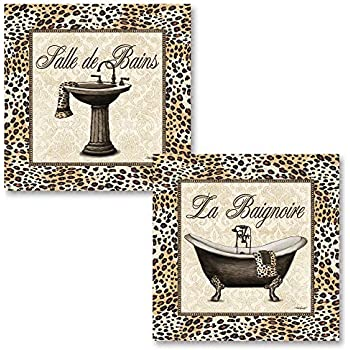 Gango Home Decor French Leopard Print Old-Fashioned Bath Tub and Sink; Two 12 x 12 Poster Print