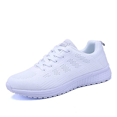 huge selection of 844c6 e76ae Vinstoken Femmes Baskets de Courses Basses Athlétique Marche Filets  Chaussures Sport Run Blanc 35