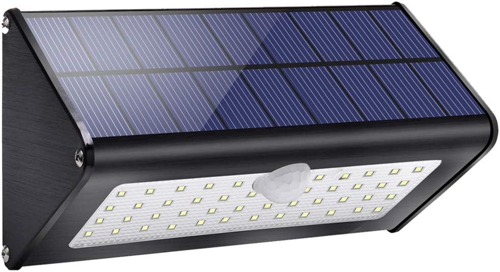 1100lm luces exteriores solares 4500mAh aluminio 120 ° sensor de movimiento infrarrojo impermeable IP65 luz de seguridad inalámbrica con 4 modos para jardín, patio, garaje, puerta, pared-luz blanca
