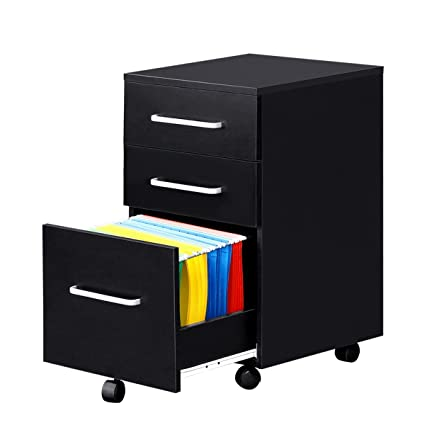 Merveilleux 3 Drawer Wood File Cabinet With Wheels By DEVAISE In Black/Walnut (Black)