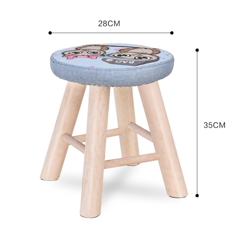 D&L Solid wood Round Footstool,Ottoman Creative Cute Stool For Kids Fabric Cover 4 legs And Removable Linen Cover-C L28xW28xH35cm