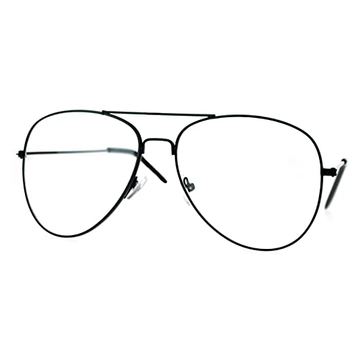 a3b7ee5b3f SA106 Classic Wire Rim Tear Drop Shape Pilot Clear Lens Eye Glasses Black