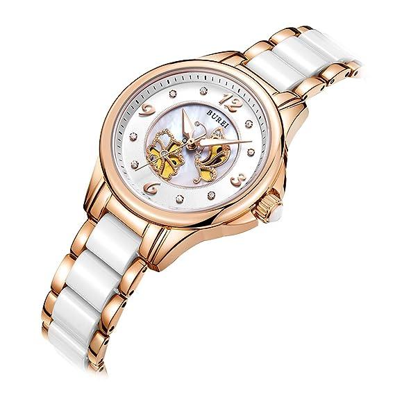 BUREI Reloj de Pulsera de Cuarzo con Perlas de Mujer con Bisel de Cristal de Zafiro Oro Rosa y Pulsera de cerámica Blanca: Amazon.es: Relojes