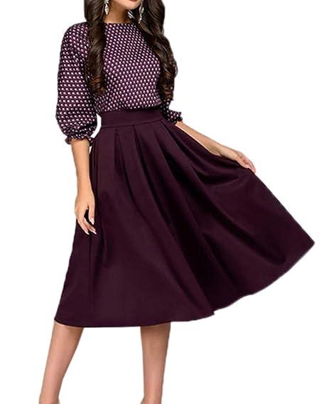 Simple-Fashion Primavera Otoño Midi Vestido Mujeres Elegante Moda Punto de Ola Costura Vestido de Partido Fiesta Casual Cuello Redondo Manga 3/4 Vestidos: ...