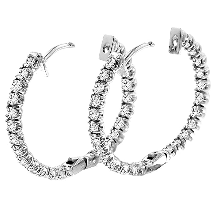 2 50 CT TW Inside/Outside Round Diamond Hoops in 14k White Gold