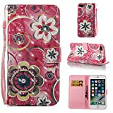Amocase Wallet Leather Case with 2 in 1 Stylus for iPhone 7 Plus/iPhone 8 Plus 5.5 inch,Premium 3D Printed Magnetic PU Leather Card Slot Stand Fold Flip Case with Wrist Strap - Crystal Flower