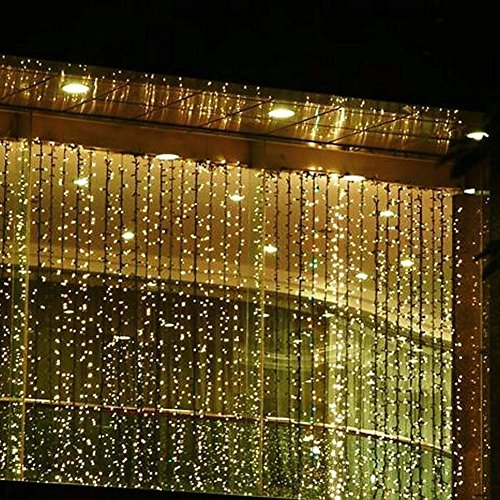 Neretva Window Curtain Icicle Lights, 600 LEDs String Fairy Lights, 19.68FTx9.84FT, 8 Modes Linkable, Icicle Fairy Lights for Christmas Party Wedding Home Patio Decorative Lights (Warm -