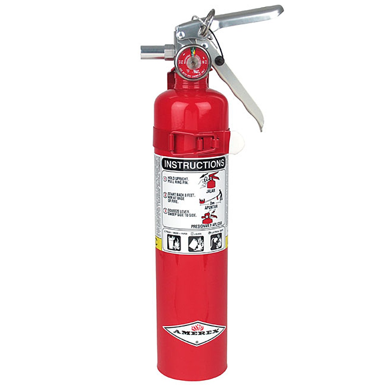 Amerex B417, 2.5 LB Dry Chemical Fire Extinguisher, Class ABC Fires Having Wall Brackets