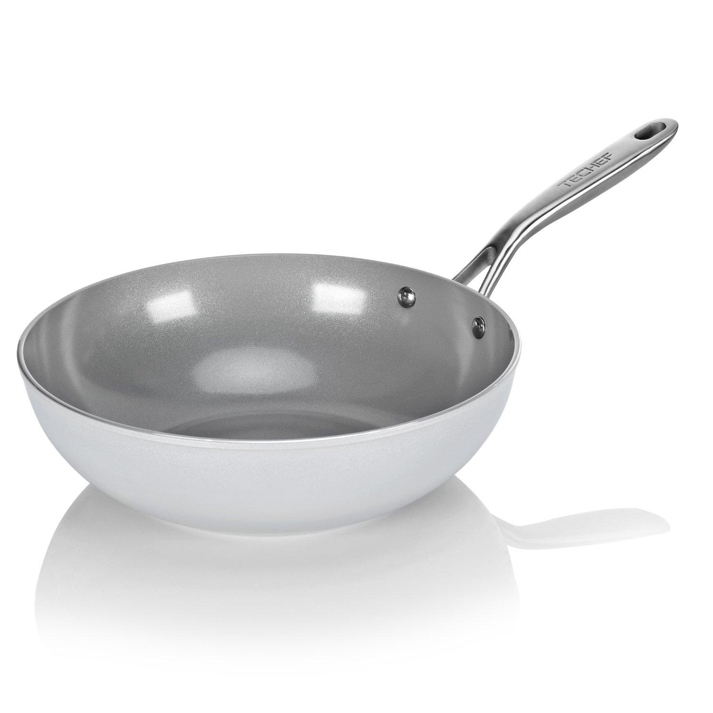 TECHEF - CeraTerra 12'' Ceramic Nonstick Wok/Stir-Fry Pan, (PTFE and PFOA Free Ceramic Exterior & Interior), Oven & Dishwasher Safe, Made in Korea, Grey/Silver (12-in)
