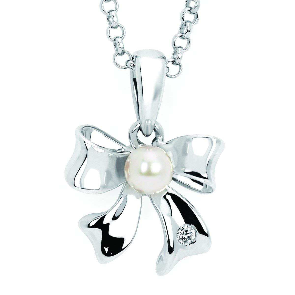 Little Diva Diamonds 925 Sterling Silver .01 Ctw Diamond Accent /& Pearl Bow Pendant Necklace with 16 Chain