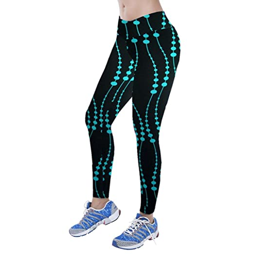 9e3178e149 Gillberry High Waist Fitness Yoga Sport Pants Printed Stretch Points  Leggings (S, Blue)