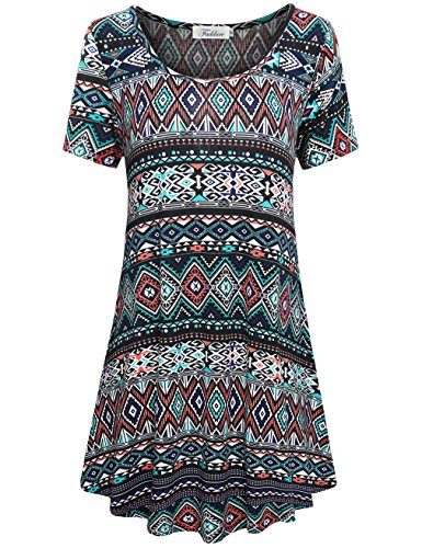 Faddare Tunic Dress, Women's Basic Casual Floral Knitted Shift Top Dresses,Black Blue XXL - Knitted Tunic Dress