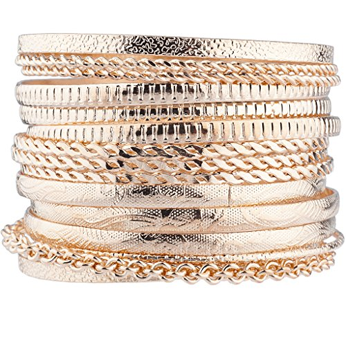 Lux Accessories Rose Gold Tone Azte Multi Bangle Set of 15 from Lux Accessories