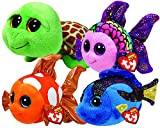 ty fish - Ty Beanie Boos Ocean Bundle With Sami Clownfish, Flippy Angelfish, Aqua Blue Tang and Zippy Sea Turtle